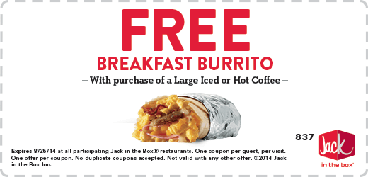 large Coupon DesktopDetail FREE Breakfast Burrito at Jack in the Box!