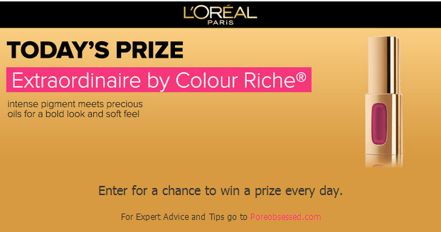 lip L'Oreal Daily Prize Giveaway! 1,550 Daily Prizes!
