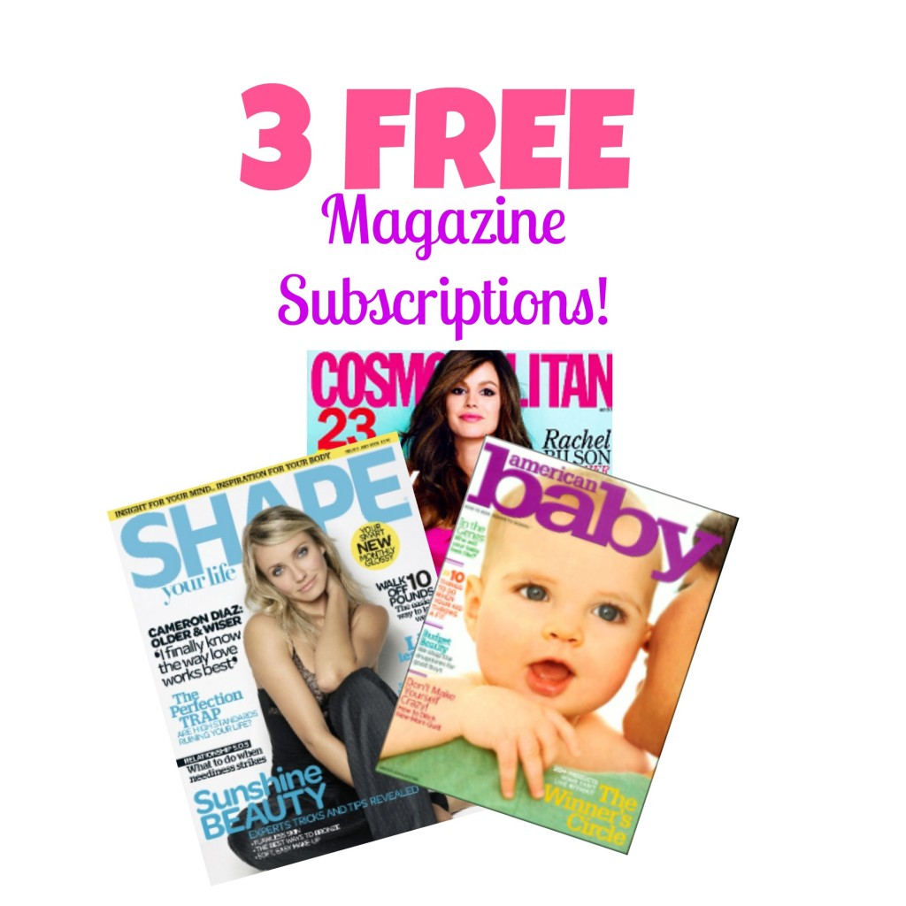 3 FREE Magazine Subscriptions: Cosmo, American Baby & Shape, Free Stuff, Freebies, Hot Deals, Free Magazines, Free Magazine Subscriptions
