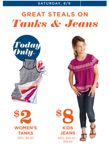 oldnavy21 HOT! Old Navy: $2 Womens Tanks + $8 Kids Jeans + BOGO Flip Flops, $5 Uniforms + Super Cash!