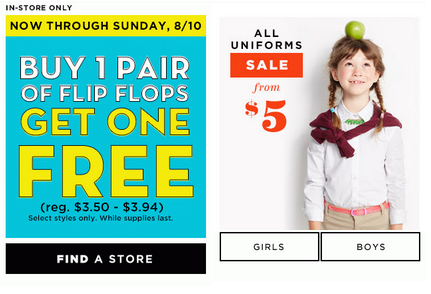 oldnavy4 HOT! Old Navy: $2 Womens Tanks + $8 Kids Jeans + BOGO Flip Flops, $5 Uniforms + Super Cash!