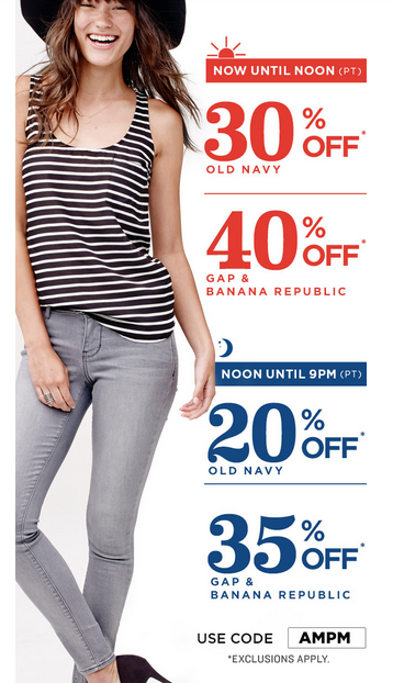 on gap br Old Navy, GAP and Banana Republic up to 40% off!