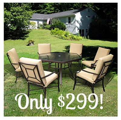 mainstays sand dune 6 piece folding patio dining set with umbrella