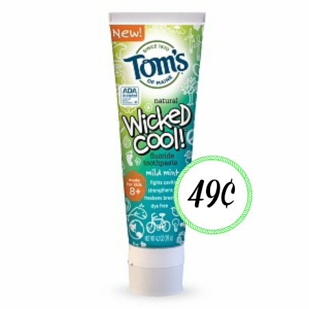 toms Tom's of Maine Wicked Cool Kid's Toothpaste Only $.49 at Target!