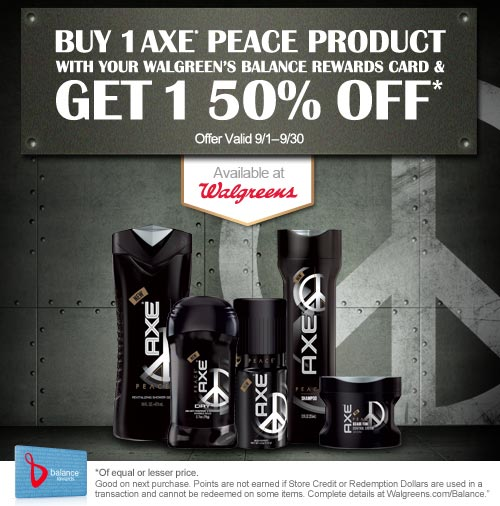 BOGO 50% off AXE Peace Products + $1 off Coupon + Win $50