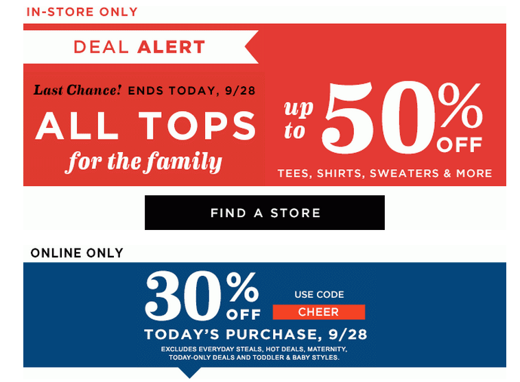 Old Navy: TODAY ONLY-Up to 50% off All Tops + 30% off Online Purchases, Old Navy Coupons, Coupon Codes, Fall Clothing, Clothes for Fall, Clothing Sale