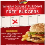 Tavern Double Burger, free burger and fries at red robin, free burger at red robin, free tavern double burger, free bottomless fries, red robin deals, restaurant deals