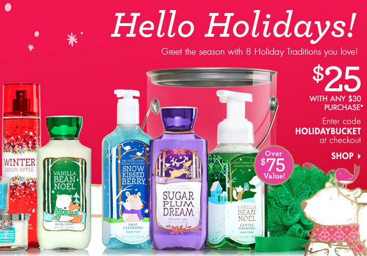 Bath & Body Works Holiday Traditions Bucket only $25.00 (reg $79.00)!