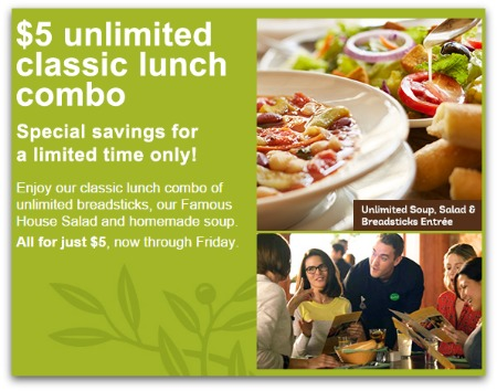 Unlimited soup salad and breadsticks only 5 at olive - Unlimited soup and salad olive garden ...