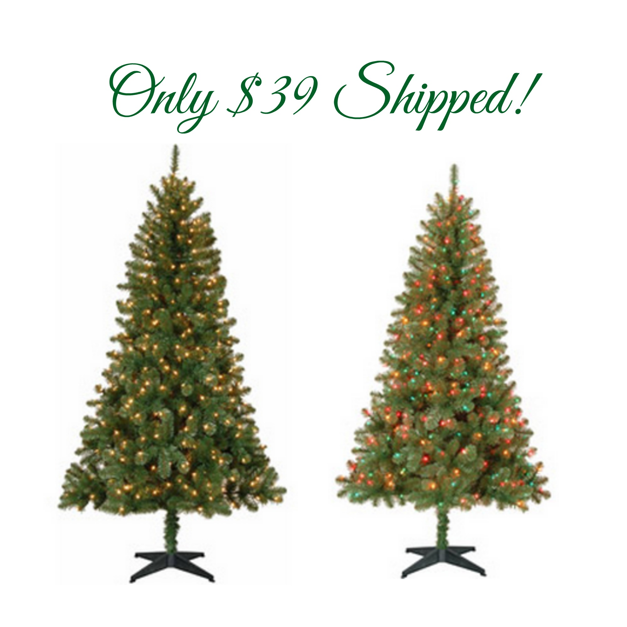 Holiday Time 6.5 \' Pre-Lit Christmas Trees Only $39 Shipped ...