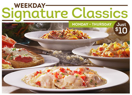Olive Garden Weekday Signature Dishes 4 Entrees Only 10