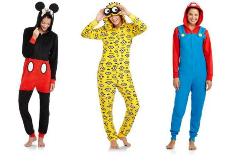 Women's Character Micro Fleece One-Piece Hooded Pajamas Only $12 ...