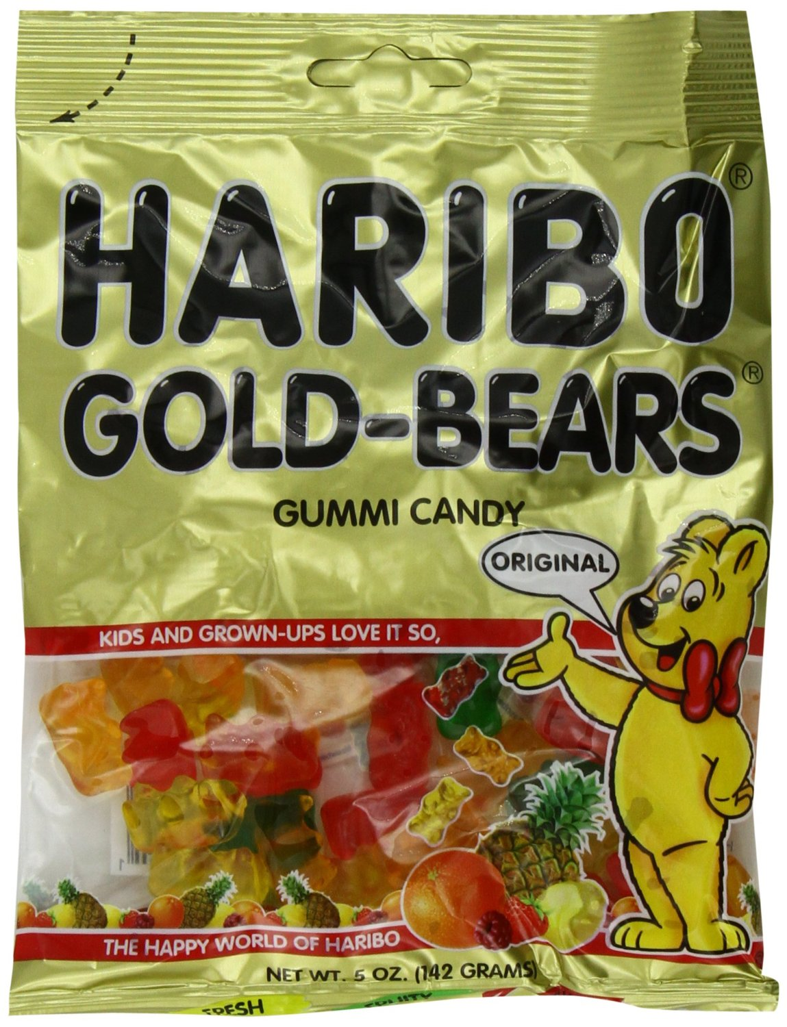Haribo Gummi Candy Original Gold Bears 5 Ounce Bags Pack Of 12 Only 9 01 75 Per Bag Shipped