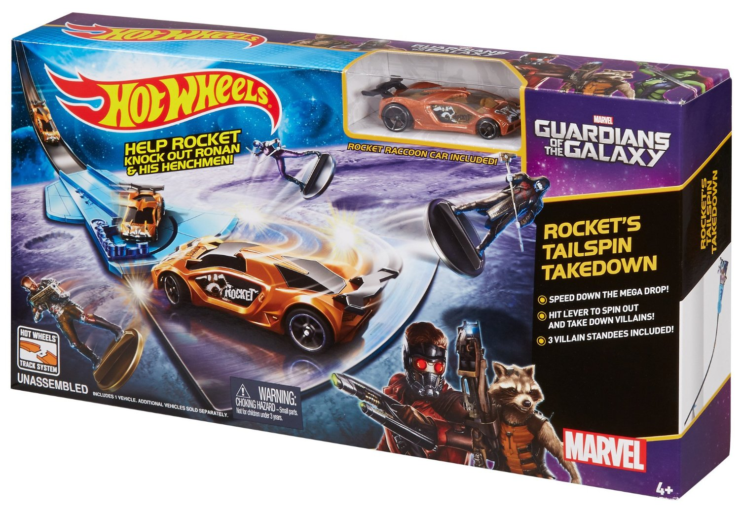 hot wheels marvel guardians of the galaxy rocket s talespin takedown track set only reg. Black Bedroom Furniture Sets. Home Design Ideas