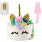 Unicorn Cake Topper | Handmade | Includes 10 Gold Swirl Candles & Cake Cutter $7.95 (REG $19.95)