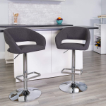 Fabric Adjustable Height Barstool with Rounded Mid-Back and Chrome Base$77.27 (REG $205.00)