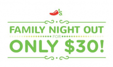 Family Night Out Only $30.00 At Chili's!