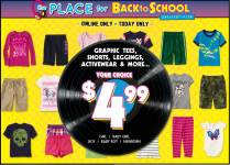 Children's Place $4.99 Sale, 20% off, $20 PLACE CASH + FREE Shipping Today Only!