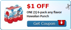 $1.00 off ONE 6-pack any flavor Hawaiian Punch Coupon