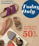 Old Navy: 50% Off Shoes for the Family! TODAY ONLY