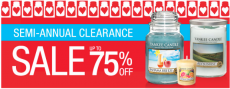 Yankee Candle: Semi-Annual Clearance Sale – Items Up to 75% Off!